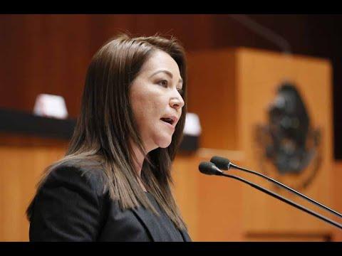 Senadora Gloria Núñez Sánchez durante el análisis del Primer Informe de Gobierno, en materia de política social