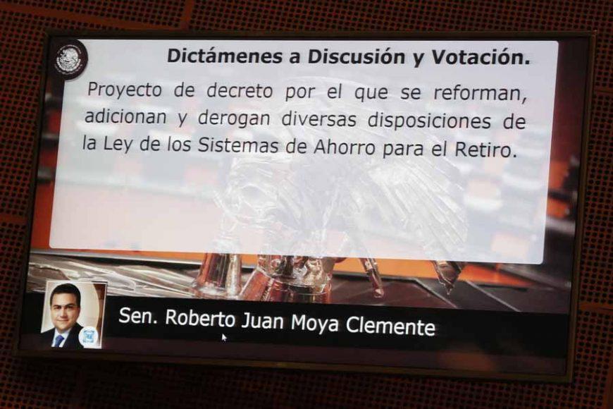 Intervención en tribuna del senador Roberto Juan Moya Clemente para fijar el posicionamiento del GPPAN a un dictamen de las Comisiones Unidas de Hacienda y Crédito Público; y de Estudios Legislativos, Segunda, de la minuta con proyecto de decreto por el que se reforman, adicionan y derogan diversas disposiciones de la Ley de los Sistemas de Ahorro para el Retiro.