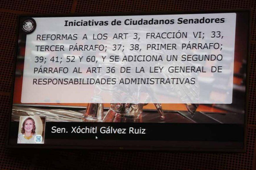Intervención en tribuna de la senadora Xóchitl Gálvez Ruiz, para presentar proyecto de decreto por el que se reforman los artículos 3, fracción VI; 33, tercer párrafo; 37; 38, primer párrafo; 39; 41; 52 y 60, y se adiciona un segundo párrafo al artículo 36 de la Ley General de Responsabilidades Administrativas, así como se reforma el último párrafo y se adiciona una fracción VI, recorriéndose las subsiguientes, al artículo 214 del Código Penal Federal.