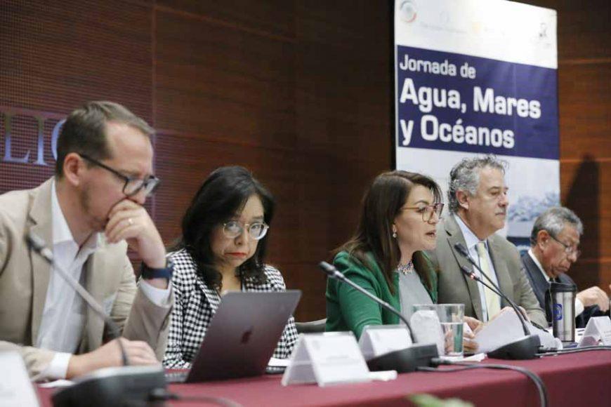 """Senadora Guadalupe Saldaña Cisneros, al moderar en el Foro """"Los Océanos y los Mares en México. Retos y Oportunidades para un Desarrollo Sostenible""""."""