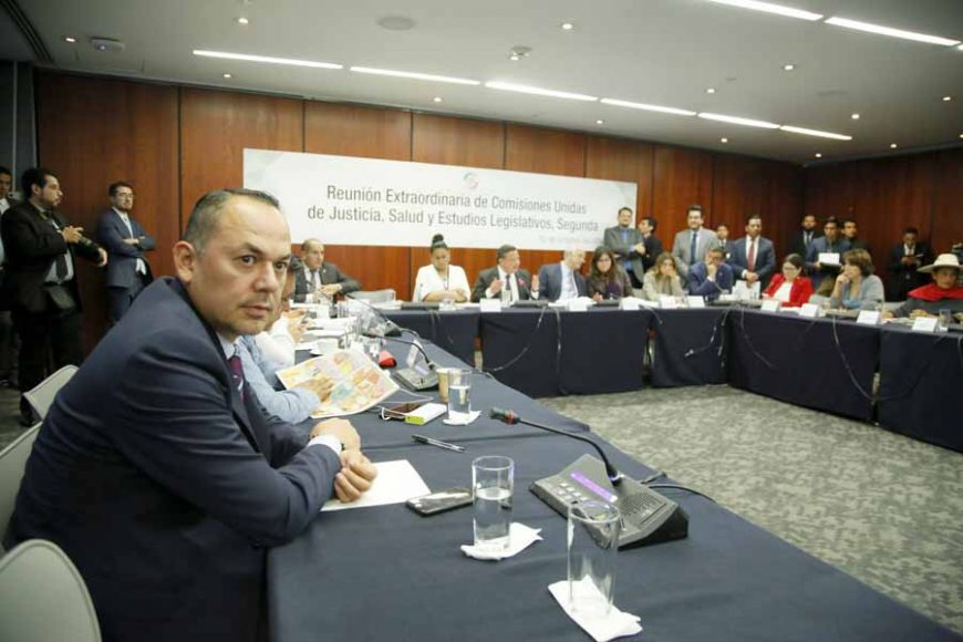 Participación de las senadoras Indira Rosales San Román y Alejandra Reynoso Sánchez, así cmo el senador Damián Zepeda Vidales, durante la reunión de las Comisiones Unidas de Justicia, Salud y Estudios Legislativos, Segunda.
