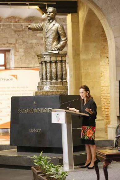 """La senadora del PAN Josefina Vázquez Mota durante el Foro """"Retos en la Prevención y Erradicación del Trabajo Infantil""""."""