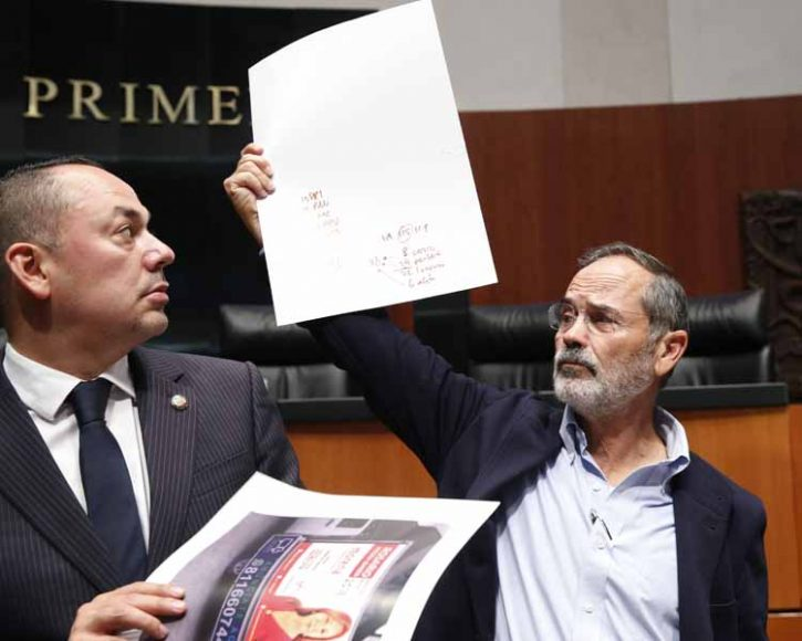 Senador Gustavo Madero Muñoz muestra los resultados de votación para elegir al titular de la CNDH
