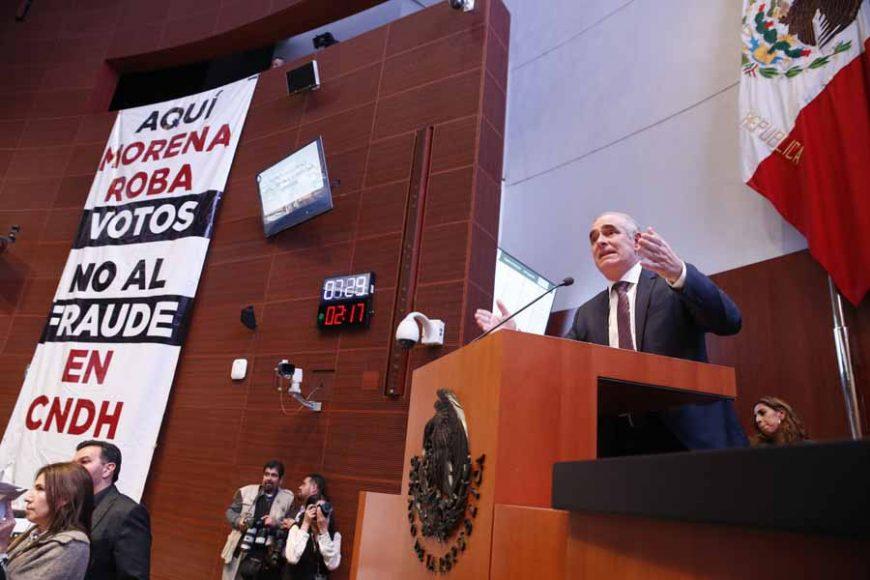 Senador Julen Rementería del Puerto al presentar moción de procedimiento con la que solicita reponer el procedimiento de votación a la Presidencia de la Comisión Nacional de Derechos Humanos
