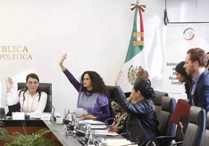 Las senadoras del PAN Xóchitl Gálvez Ruiz y Guadalupe Saldaña Cisneros, durante la séptima reunión ordinaria de la Comisión de Medio Ambiente, Recursos Naturales y Cambio Climático.