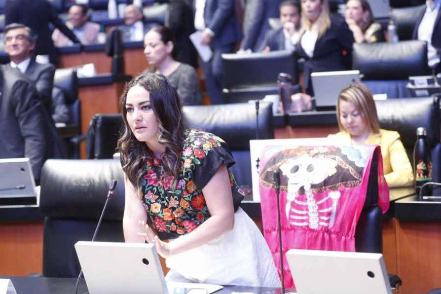 Senadora Martha Márquez Alvarado al participar desde su escaño