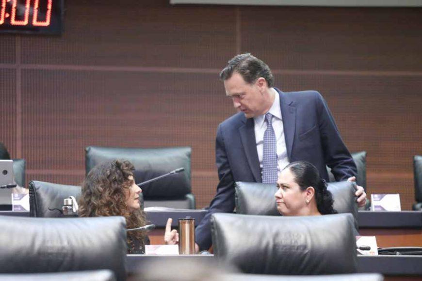 Senadoras y senadores de Acción Nacional, durante los trabajos de la sesión ordinaria