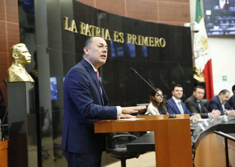 El senador del PAN Erandi Bermúdez Méndez, durante la inauguración del Programa Incubadora de Legisladores 2019