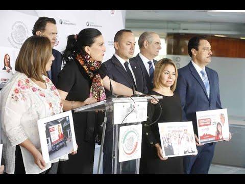 Conferencia de prensa concedida por las y los senadores del PAN, encabezados por el coordinador, Mauricio Kuri González