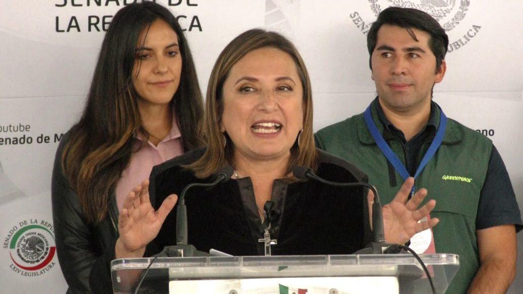 Conferencia de prensa de la senadora Xóchitl Gálvez Ruiz y, en conjunto con senadoras y senadores de diversos grupos parlamentarios y organizaciones de la sociedad civil