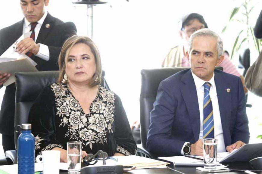 Las senadoras del PAN Indira Rosales San Román, Xóchitl Gálvez Ruiz, así como el senador Damián Zepeda Vidales, al participar en la reunión Extraordinaria de la Comisión de Justicia, comparecencias de las personas aspirantes a ocupar el cargo de Ministras de la Suprema Corte de Justicia de la Nación