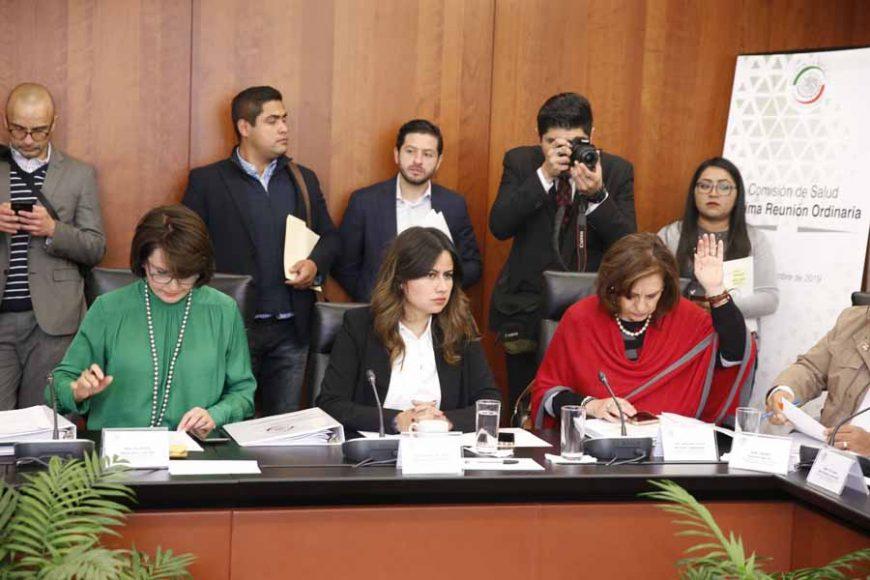 La senadora Indira Rosales San Román y el senador Marco Antonio Gama Basarte, al participar en la reunión de trabajo de la Comisión de Salud.