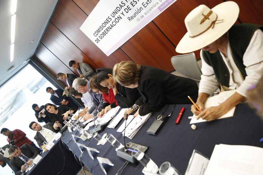 Participación de las senadoras Kenia López Rabadán y Nadia Navarro Acevedo, durante la reunión de trabajo de las Comisiones Unidas para la Igualdad de Género; de Gobernación; y de Estudios Legislativos Segunda para referirse a una minuta en materia de violencia política de género.