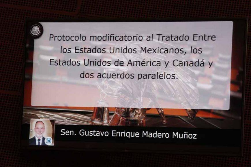Intervención de del senador Gustavo Madero Muñoz, al presentar un dictamen de las comisiones unidas de Relaciones Exteriores, de Relaciones Exteriores América del Norte, de Puntos Constitucionales, de Economía y de Trabajo y Previsión Social, por el que se aprueba el protocolo modificatorio al Tratado entre los Estados Unidos Mexicanos, los Estados Unidos de América y Canadá y, además, dos acuerdos paralelos, firmados el 10 de diciembre de 2019 en la Ciudad de México.