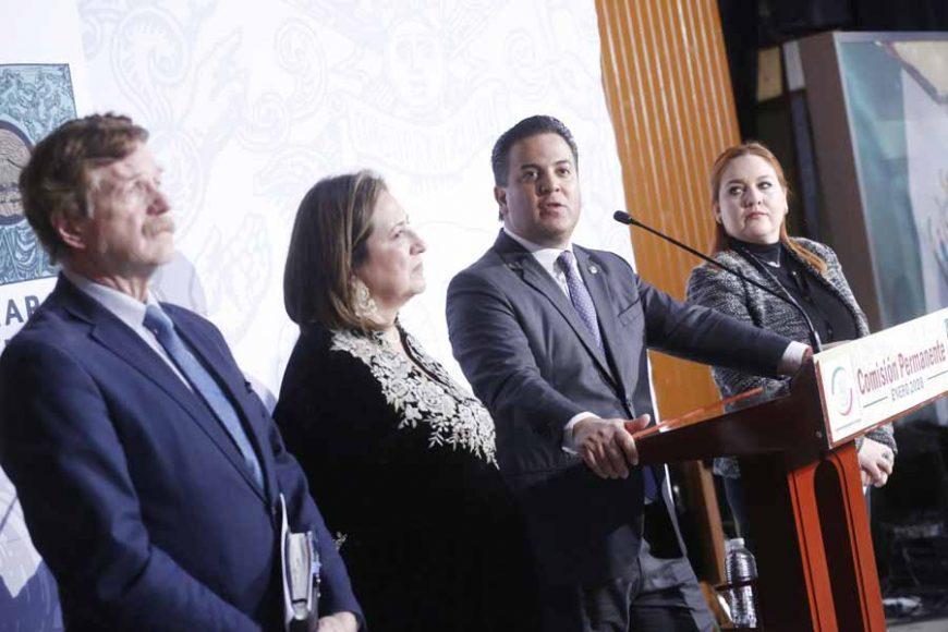 Conferencia de prensa conjunta de las y los senadores y diputados del PAN. Senadora Xóchitl Gálvez Ruiz, Damián Zepeda Vidales, Gustavo Madero Muñoz