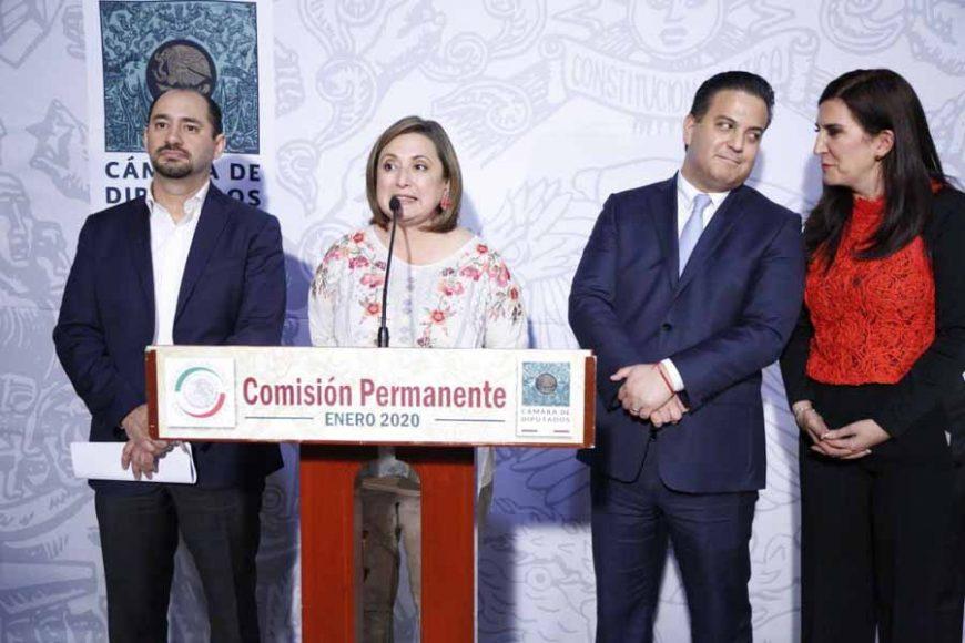 Senadores del PAN en conferencia de prensa, posterior al Informe de Labores 2019 de la Comisión Nacional de los Derechos Humanos.