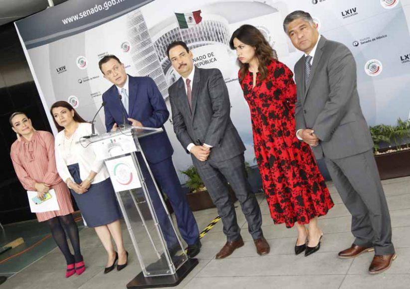 Conferencia de prensa ofrecida por senadoras y senadores del PAN, encabezados por su coordinador, Mauricio Kuri González.