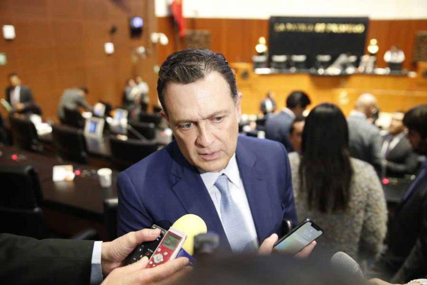 Entrevista concedida por el Coordinador d las y los senadores del PAN, Mauricio Kuri González, al término de la sesión.