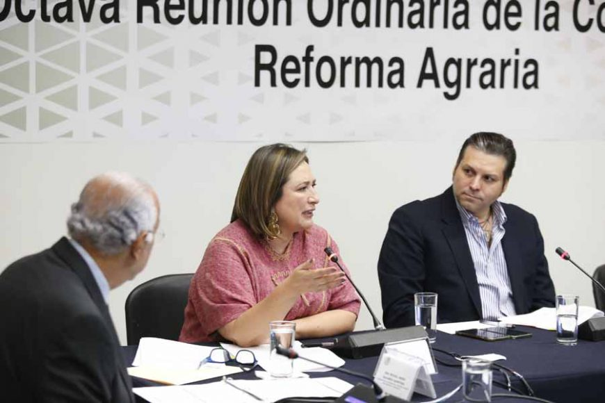 Senadora Xóchitl Gálvez Ruiz, durante la reunión de trabajo de la Comisión de Reforma Agraria.