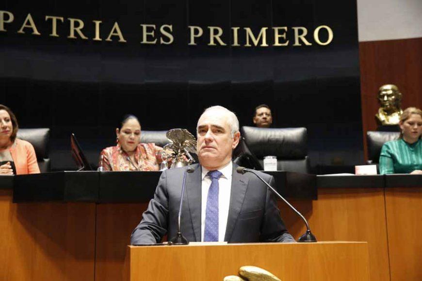 Intervención del senador Julen Rementería del Puerto, al participar en la discusión de un dictamen de la Comisión de Seguridad Pública, por el que se exhorta a los titulares de los gobiernos de Michoacán, Guerrero y Sinaloa a fortalecer su estrategia en materia de seguridad.