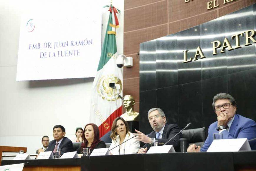 Convocatoria a la reunión de trabajo en Comisiones Unidas, con el Embajador Dr. Juan Ramón de la Fuente Ramírez, representante Permanente de México ante la ONU, organizada por las Comisiones Unidas de Relaciones Exteriores; de Relaciones Exteriores, América del Norte; de Relaciones Exteriores, América Latina y El Caribe; de Relaciones Exteriores, Asia - Pacífico - África; de Relaciones Exteriores, Europa.
