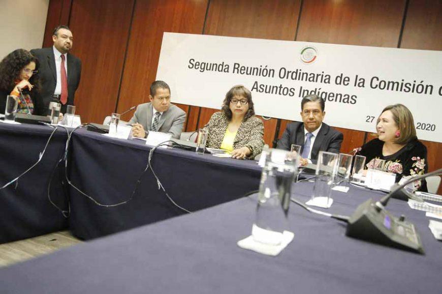 La senadora Xóchitl Gálvez Ruiz y el senador Marco Gama Basarte, durante la reunión de la Comisión de Asuntos Indígenas.