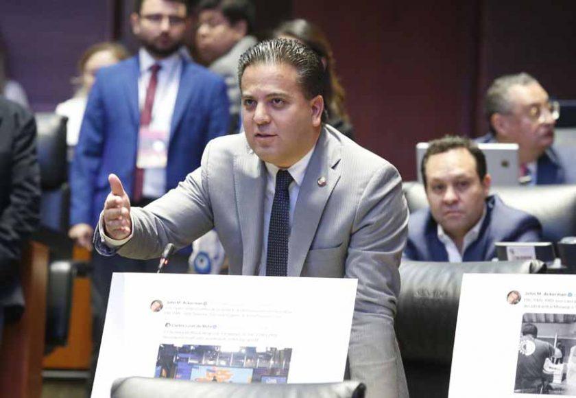 Intervención, desde su escaño, del senador Damián Zepeda Vidales para referirse a la designación, por parte de la CNDH, de John Ackerman como integrante del Comité Técnico de Evaluación de los aspirantes a consejeros del INE.