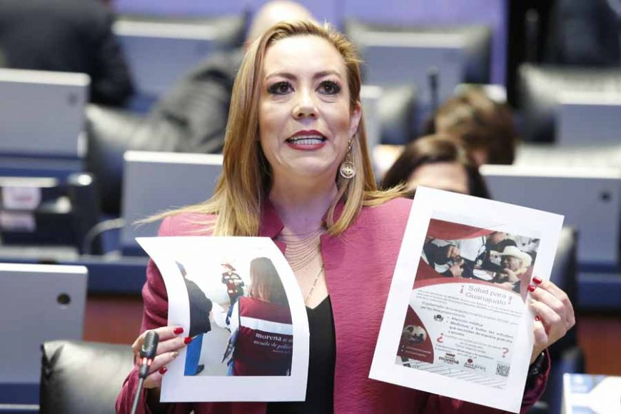 Intervención de la senadora Alejandra Reynoso Sánchez, al referirse al uso de recursos públicos del Grupo Parlamentario de Morena para ingresar a clínicas de Guanajuato, a fin de incitar a la ciudadanía a quejarse del sistema de salud del estado.