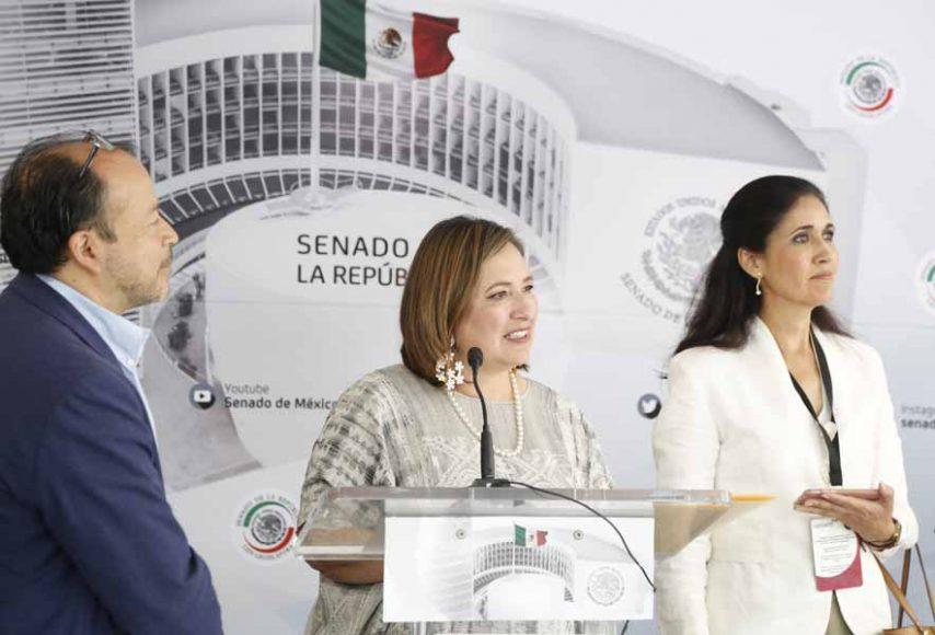 Conferencia de prensa ofrecida por la senadora Xóchitl Gálvez Ruiz, acompañada por la senadora Verónica Delgadillo y el senador Raúl Bolaños, así como representantes de Organizaciones No Gubernamentales, para hablar sobre un punto de acuerdo que presentará en materia de combate a los incendios forestales.