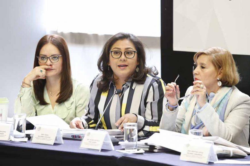 Las senadoras del PAN Nadia Navarro Acevedo y Kenia López Rabadán, durante la reunión de trabajo en Comisiones Unidas para la Igualdad de Género y de Estudios Legislativos, Primera.