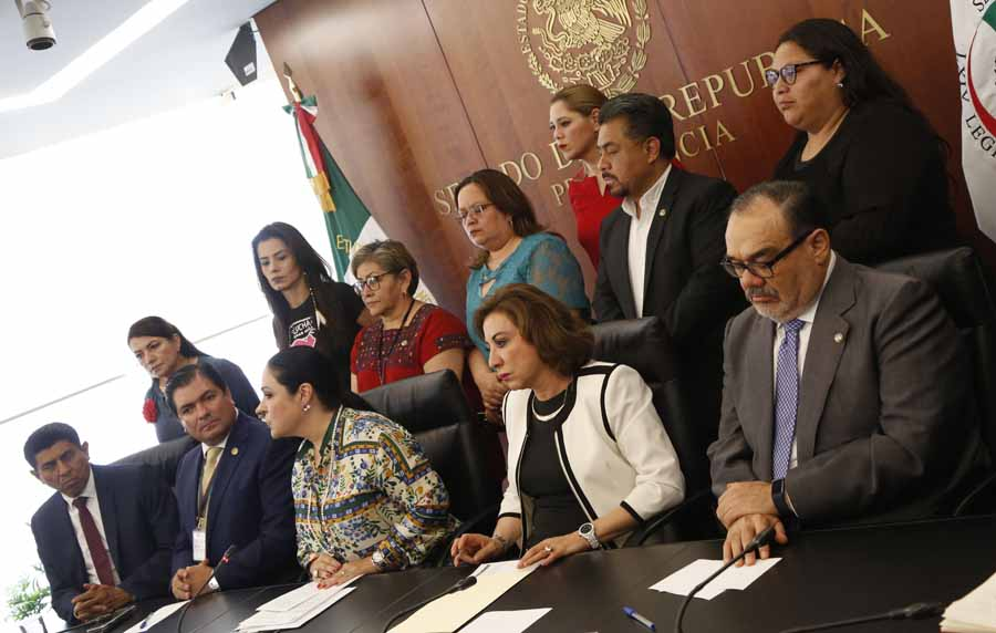 La senadora Guadalupe Murguía Gutiérrez, vicepresidenta del Senado, durante la conferencia de prensa en la Mesa Directiva del Senado.