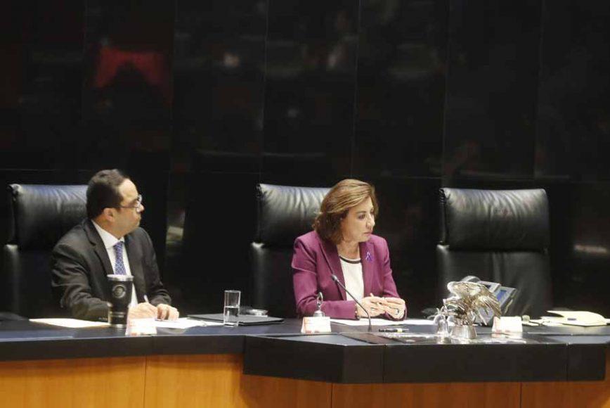 Senadora Guadalupe Munguia Gutiérrez en sesión ordinaria