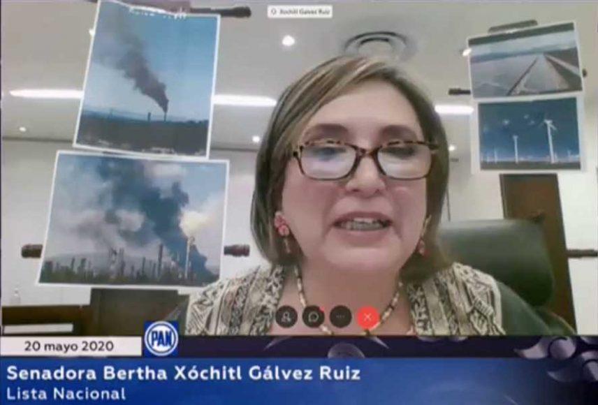 Senadora Xóchitl Gálvez Ruiz durante la sesión virtual de la Comisión Permanente