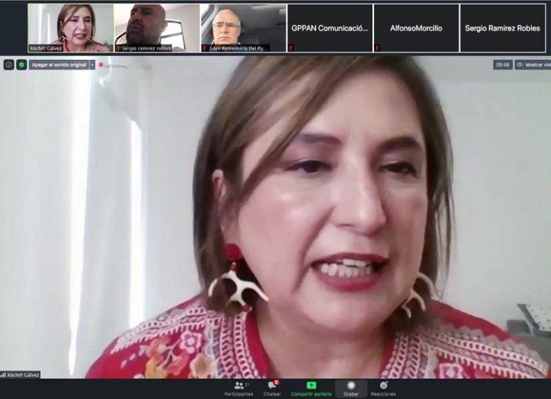 Conferencia de prensa del GPPAN con el tema de suspensión indefinida de la política energética del Gobierno federal, Xóchitl Gálvez Ruiz, Julen Rementería del Puerto