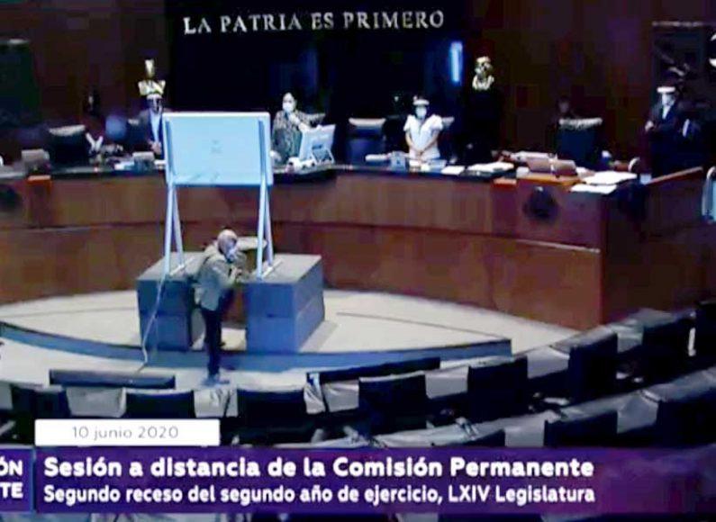 Senadores del PAN durante la sesión ordinaria, a distancia, de la Comisión Permanente