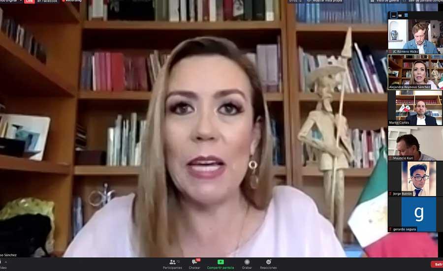 Senadora Alejandra Reynoso Sánchez, al participar en la conferencia de prensa del PAN