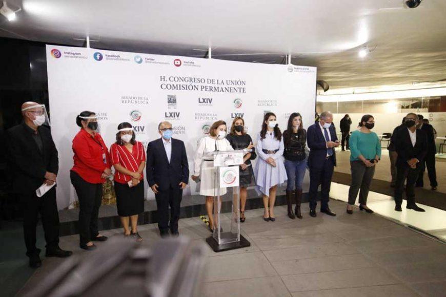 Conferencia de prensa de las y los integrantes del bloque de contención en la Comisión Permanente por el rechazo al periodo extraordinario en Cámara de Diputados