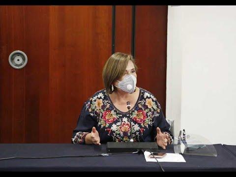 Senadora Xóchitl Gálvez Ruiz, durante la Reunión de las Comisiones Unidas de Relaciones Exteriores América del Norte