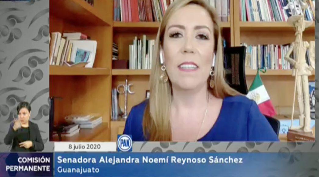 Intervención de la senadora Alejandra Reynoso Sánchez, para referirse a la situación de violencia en el Bajío, durante la sesión virtual de la Comisión Permanente.