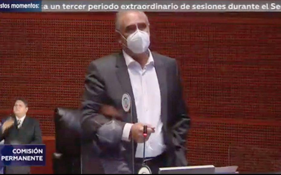 El senador Julen Rementería del Puerto, al participar desde su escaño, durante la sesión de la Comisión Permanente