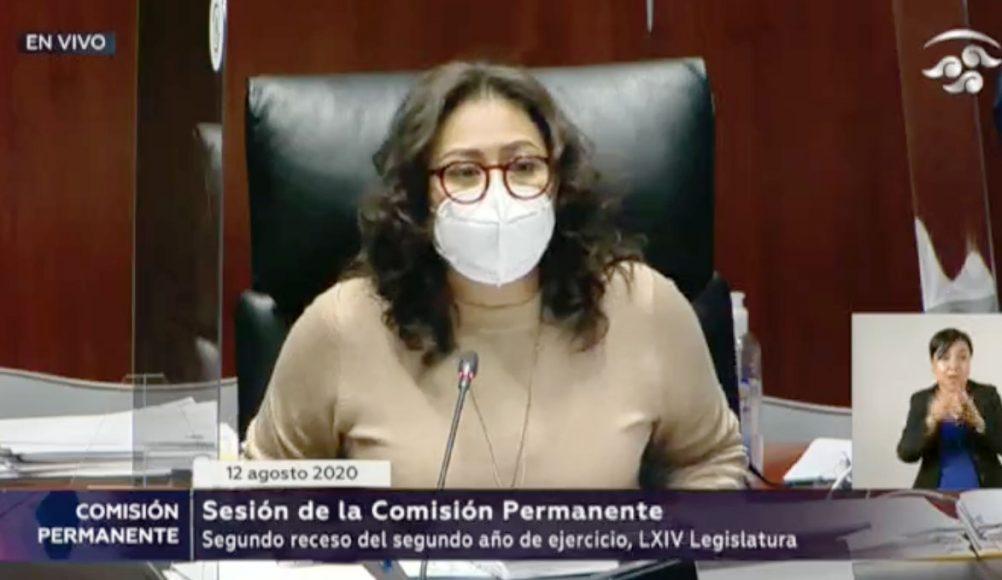 Las senadoras Nadia Navarro Acevedo, Indira Rosales San Román y el senador Julen Rementería, integrantes del PAN, durante los trabajos de la Comisión Permanente.
