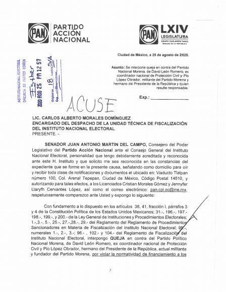 2020.08.25 PORTADA ACUSE DENUNCIA ANTE INE