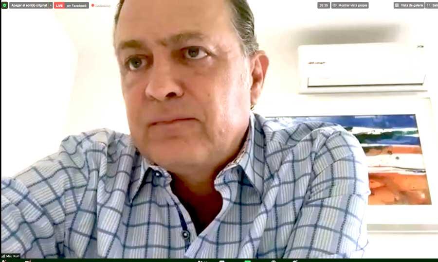 intervención del coordinador del Grupo Parlamentario del PAN, Mauricio Kuri González, durante la introducción de la conferencia virtual conjunta con el presidente nacional Marko Cortés Mendoza y el coordinador la bancada panista en la Cámara de Diputados, Juan Carlos Romero Hicks