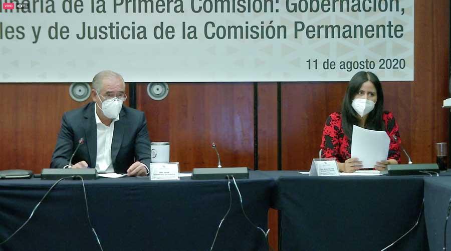 La senadora Indira Rosales San Román y el senador Julen Rementería del Puerto, durante su participación en la reunión de trabajo de la Primera Comisión, de Gobernación, Puntos Constitucionales y de Justicia, de la Comisión Permanente.