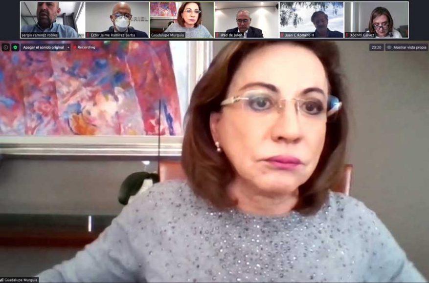 Conferencia de prensa de los integrantes del GPPAN en la Comisión Permanente, Guadalupe Murguía Gutiérrez, Xóchitl Gálvez Ruiz, Julen Rementería del Puerto,