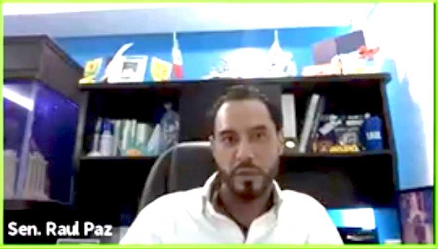 """Senador Raúl Paz Alonzo, durante su participación en el Segundo Ciclo de Conferencias """"Iniciativas y propuestas de cambio para enriquecer el Marco Jurídico del Agua."""