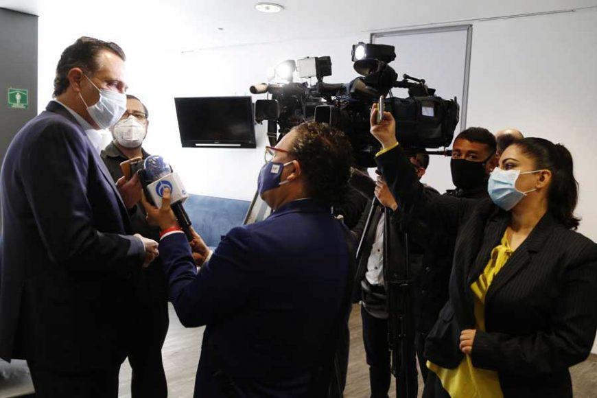 Entrevista concedida a medios del Coordinador de las y os senadores del PAN, Mauricio Kuri González, al término de la reunión de la Jucopo