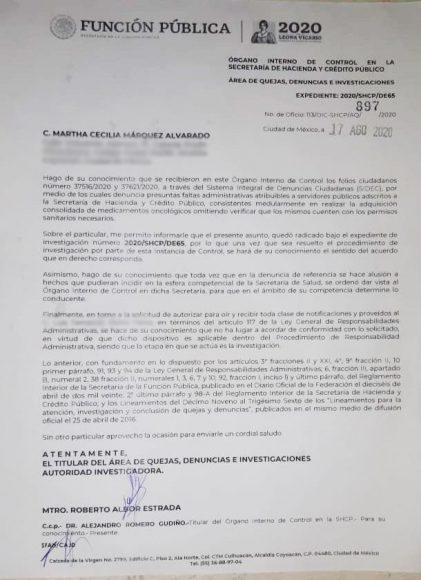 MCMA DENUNCIA SFP DESABASTO MEDICAMENTOS