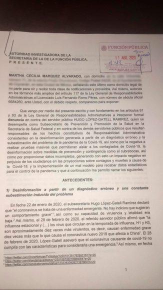 Martha Márquez denuncia en SFP a Hugo López-Gatell por omisión ante Covid-19