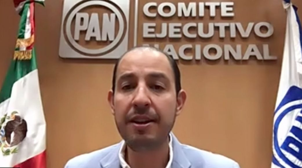 Senadora Minerva Hernández, durante la conferencia del presidente nacional del PAN, Marko Cortés